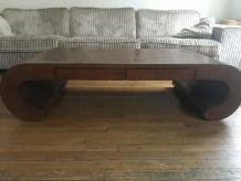 Table Basse Teck massif et Bambou deroulé