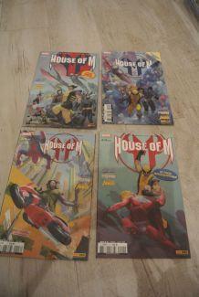 LOT BD HOUSE OF M 1 à 4 (panini comics) d'avril à juillet 2006