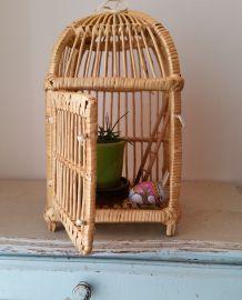 Ravissante cage ancienne en osier et rotin