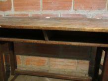 bureau écolier ancien en bois de chêne
