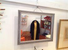 Charmant miroir ancien art déco bois argenté