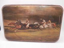 Grande boîte métal décor chevaux de course