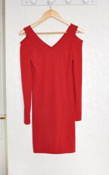 Robe tunique rouge épaules nues - Taille S