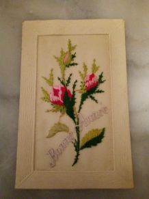 CARTE POSTALE BRODEE BONNE ANNEE 1912