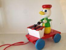 jouet à tirer canard xylophone bois vintage