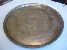 GRAND PLATEAU CUIVRE ANCIEN ORIGINE ALGERIE VERS 1850