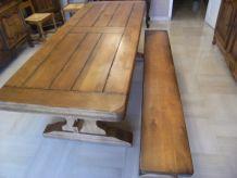 table et banc en chêne massif