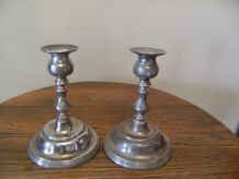 paire chandelier fer blanc