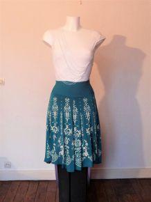 Jupe Mi Longue Bleu Vert Turquoise En Viscose- Taille 1- Neuf- Inter Volex