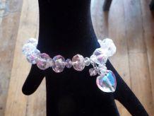 Bracelet En Perles De Verre Transparentes Avec Son Coeur