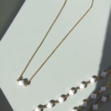 Parure de bijoux trèfle blanc doré