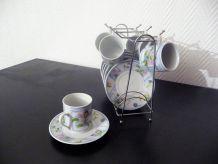 Lot De 6 Tasses Et 6 Soucoupes À Café blanc, bleu, vert, rose sur leur support en métal argenté-Neuf