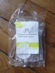 LOT de 20 Cuillères à dessert en plastique jetable blanc très rigide