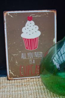 Plaque métal cupcake