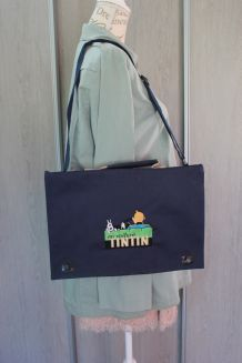 Sac cartable Tintin en toile