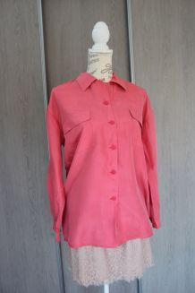 Chemise en soie lavée rose