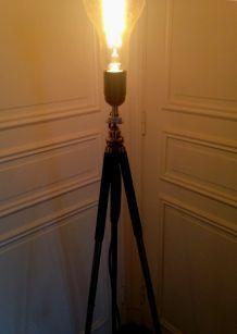 lampadaire s/1 ancien trépied photo+ampoule globe