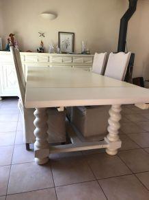 Salle à manger merisier, Table avec rallonges, 6 chaises