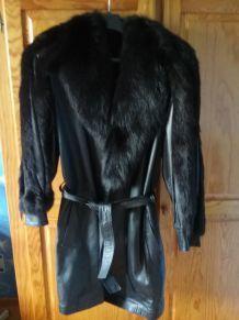 Manteau cuir et fourrure renard