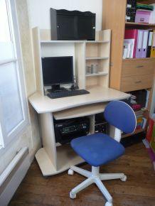 Ensemble  BUREAU érable blond=meuble micro+ surmeuble+caisson