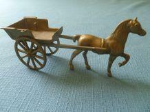 charette  + cheval  en  laiton  vintage  Original