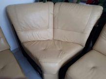 Canapé d'angles droit en cuir jaune