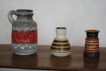 3 vases vintage west germany céramique