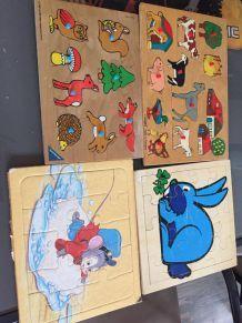lot de 4 puzzles bois et autres