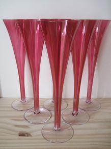 6 coupes à champagne rouges