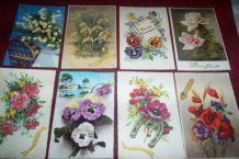 lot 8 cartes postales anciennes de fleurs
