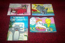 lot de 4 cartes postales humouristiques neuves période 1980