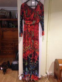 Robe à motif, Rouge/Noir/Orange, Taille: L