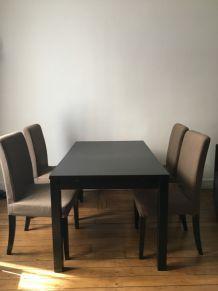 Table brun noir BJURSTA et 4 chaises IKEA