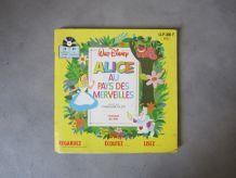 Livre disque Disney Alice au pays des merveilles 45 tours
