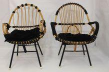 Paire fauteuils vintage année 60 rotin  finition corde.