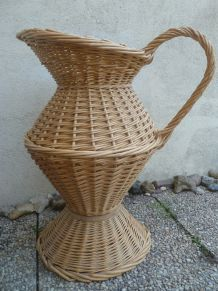 panier osier cruche pichet ,Ancien ,Vintage