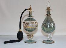 Set flacon de parfum et vaporisateur verre soufflé et gravé