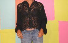 chemise courte dentelle loose transparent fluide T40-42 grece vintage retro demi saison