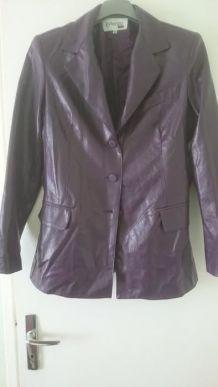 veste courte simili cuir T42 violette