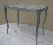 table de style patinée bleu gris