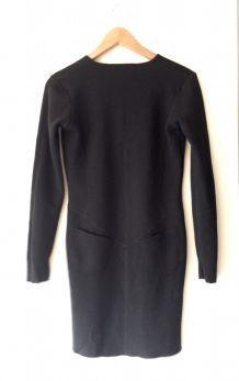 Robe Carven noire laine mérinos