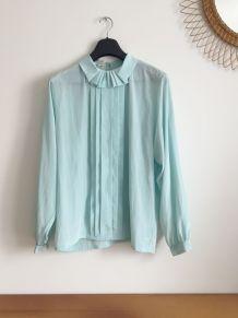 Blouse chemise vintage couleur mint col plissé