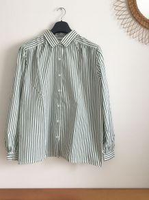 Chemise vintage Damart à rayures vertes 70s