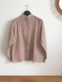 Chemise vintage à rayures cognac col mao 1970's