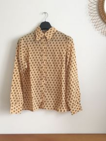 Chemise vintage marron à motifs 70's