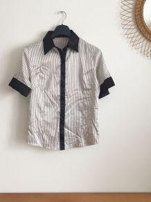 Chemise vintage années 70 à rayures noires
