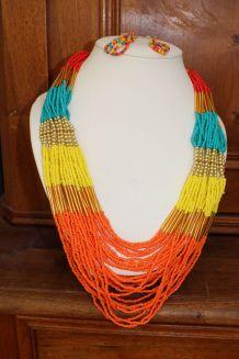 parure Collier long style dore oriental perle ethnique