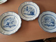 Lot de 3 assiettes faïence