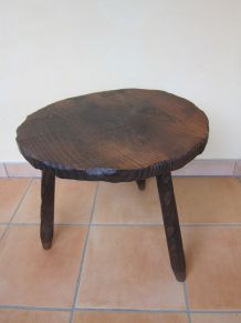 table basse tripode bois massif année 60