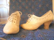 CHAUSSURES BOCAGE 36 BEIGE TBE CUIR FRANCE